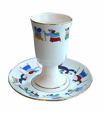 """Porcelain Kiddush Cup,Colorful People,Designed by Israeli Artist Abecassis,4.75"""""""