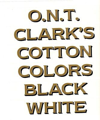 CLARK'S SPOOL CABINET DECAL 6 PIECE SET / GOLD LETTERS with BLACK SHADOW.
