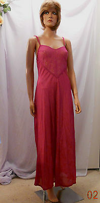 Vtg 80s Undercover Wear Mulberry Long Nylon Nightgown w Peek-A-Boo Lace Front, M