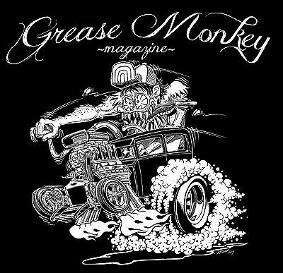 GREASE MONKEY  MAGAZINE - Hot Rod t-shirt. Art work by Gary Mizar- MD