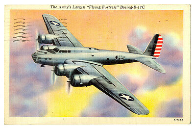 """US Air Force Boeing B-17C """"Flying Fortess"""" Postcard 1944"""