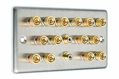 Stainless Steel 7.2 Surround Sound Speaker Wall Face Plate Gold Binding Posts