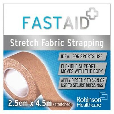 Fast Aid Zinc Stretch Fabric Strapping Bandage 2.5cm X 4.5m