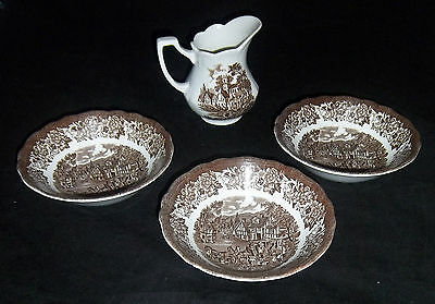 J & G Meakin Transfer Ware Ironstone Staffordshire Stage Cereal Bowls & Creamer