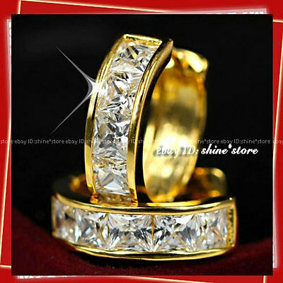 9K Gold Gf E23 Simulated Diamond Huggies Anniversary Bridal Womens Solid Earring