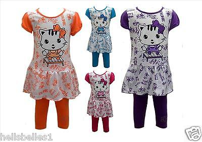 "Girls New ""kitty"" 2Pc 3/4 Cropped Leggings&dress Top Outfit/set 2 3 4 5 6 7 8 Y"
