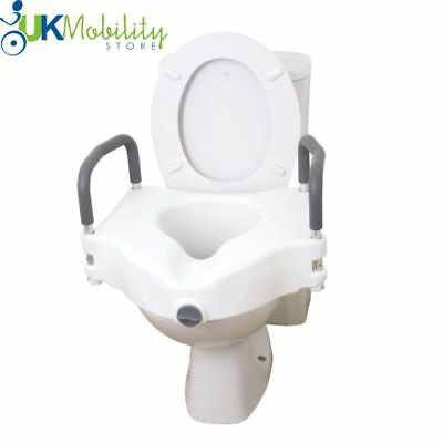 "5"" Raised Elevated Toilet Seat Raiser With Removeable Arms Armrests"