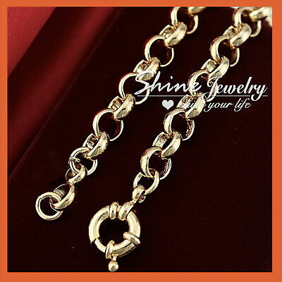 9K Gold Gf Br44 Safe Bolt Rings Chain Heart Womens Solid Belcher Bracelet Bangle