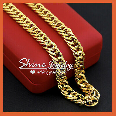 18K Gold Filled N28 Cuban Double Curb Ring Chain Solid Heavy Mens Gift Necklace
