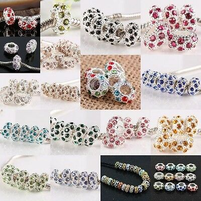 Wholesale Crystal Rhinestone Rondelle European Beads Finding Fit Charms Bracelet