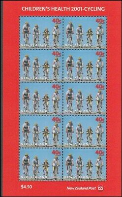 NEW ZEALAND HEALTH M/S 2001 MINT SHEETLET OF 10 x40c CYCLING (ID:077/MMH215A)