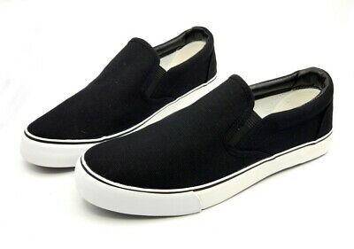 Women Slip-on Canvas Shoes Pumps Plimsoles Girls Flat Ladies Black/White Casual