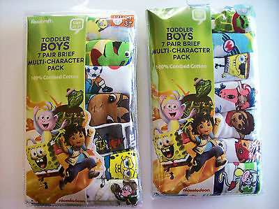 Multi-Character Underwear Underpants Boys 7 Pair Brief Pk 2T/3T 4Toddler  NIP