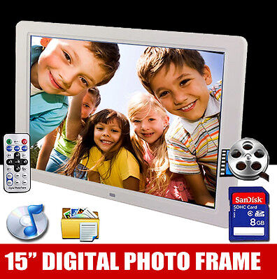 "New 15"" White HD Digital Photo Frame MP3 Audio Video Photo + FREE 8GB SD Card"