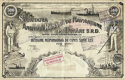 ROMANIA NAVIGATION OF THE DANUBE BOND stock certificate BEAUTY 500 LEI