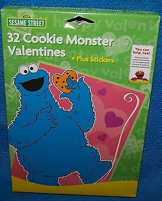 NIB Valentines Day Cards (Lot of 32) Sesame Street Cookie Monster