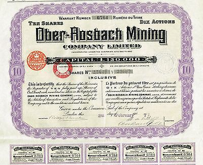 GERMANY OBER-ROSBACH MINING COMPANY stock certificate 1907 10 SH
