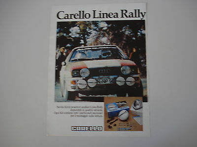 advertising Pubblicità 1981 CARELLO e AUDI QUATTRO RALLY