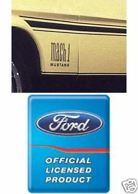 1971 - 1972 Mustang Mach 1 Fender Decal Pair Ford Licensed