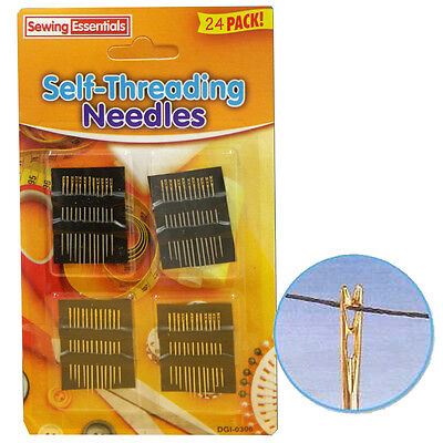 Self Threading Needles 24 Simple Threader Safety Sewing Dressmaker Travel Kit