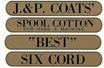 J /& P COATS SPOOL CABINET LABEL 8 PIECE SET GOLD LETTERS with BLACK SHADOW.