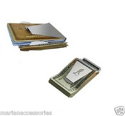 Stainless Steel Money Clip Double Sided Credit Card Holder Ultra Thin Silver