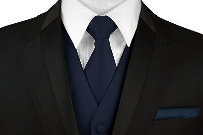 MEN'S NAVY BLUE SATIN TUXEDO VEST, TIE & HANKIE SET Wedding, Formal, Prom, Dress