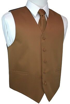 MEN'S WHISKEY SATIN TUXEDO VEST, TIE & HANKIE SET. Wedding, Formal, Prom, Dress