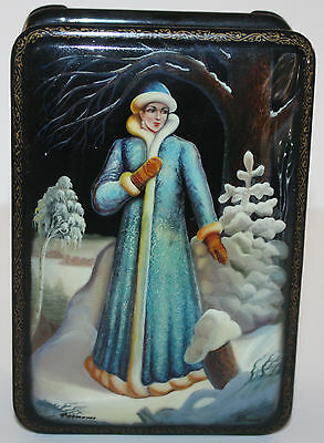Russian Fedoskino Lacquer Box, Snow Maiden Signed: Shaprev Genuine Vintage