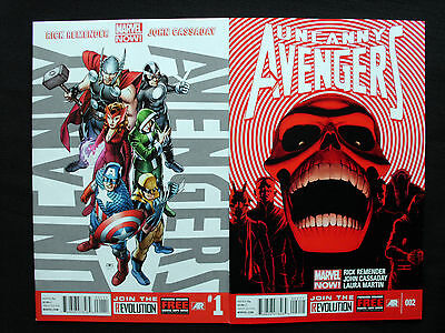 Uncanny Avengers #1 and 2 - Marvel Now  - 1st Print - VF+ to NM