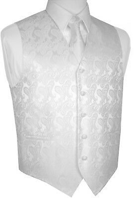 Men's White Paisley Tuxedo Vest, Tie & Hankie Set. Formal, Dress, Wedding, Prom