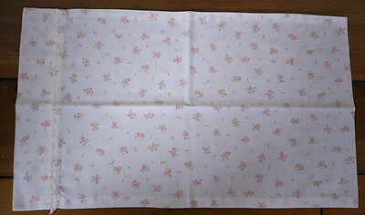 "Vintage Full Pillow Case Feedsack Pink Floral Roses w/ Lace Trim 19.5"" x 11.5"""
