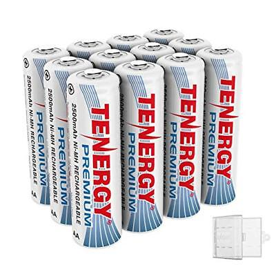 12PCS Tenergy 1.2V Premium AA 2500mAh NiMH Rechargeable Batteries Cell+3 Holders