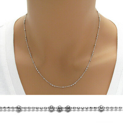 Sterling Silver Rhodium 3 x 1 Dia-Cut BEAD chain necklace 2mm