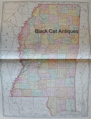 """Original 1898 Map of Mississipi USA 25.25"""" X 18.25"""" Rand McNally Large Color Map"""