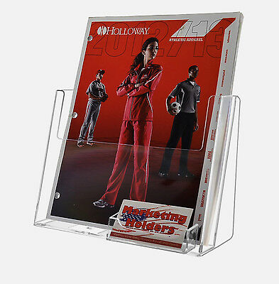 "8.5"" x 11"" Magazine Brochure Display with Business Card Holder Clear Acrylic"