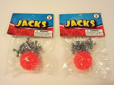 2 Sets Of Metal Steel Jacks With Super Red Rubber Ball Game Classic Toy Kids