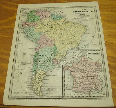 1843 Smith's Antique COLOR Map/SOUTH AMERICA AND FRANCE