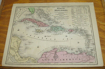 1844 Smith's Antique COLOR Map/WEST INDIES