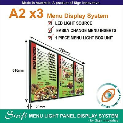 A2 x3 Swift LED MENU BOARD DISPLAY SYSTEM -ILLUMINATED MENU DISPLAY LIGHT BOX
