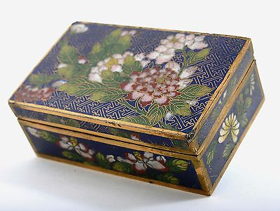 Old Chinese Gilt Cloisonne Box with Flower