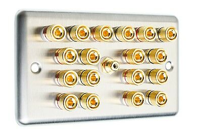 Stainless Steel 9.1 Surround Sound Speaker Wall Face Plate Gold Binding Posts