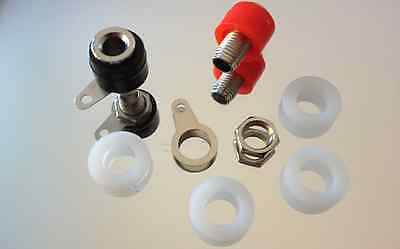 2 Quality low Profile Nickel Speaker Binding Posts takes 4mm Banana Plugs