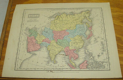 1849 Olney's Antique COLOR Map/ASIA