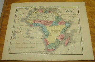 1849 Olney's Antique COLOR Map/AFRICA