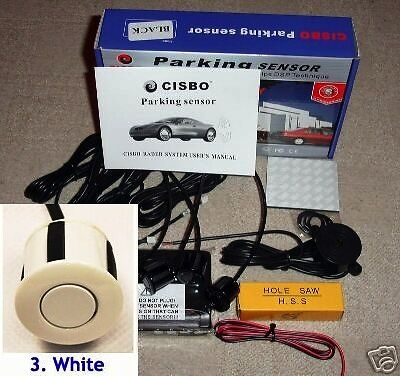 CISBO Parking Reversing Sensor 4 Sensors Audio  Buzzer in Glossy White  colour