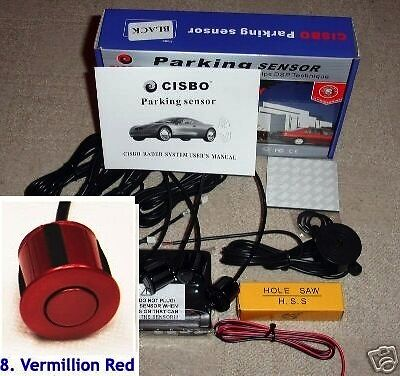 CISBO Parking Reversing Sensor 4 Sensors Audio  Buzzer in Vermillion Red colour