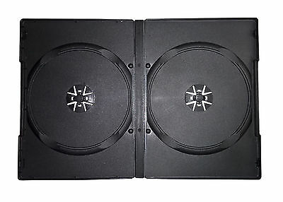 100 x Double DVD Case Cases 14mm Spine Storage Black Front Cover Sleeve 2 Way