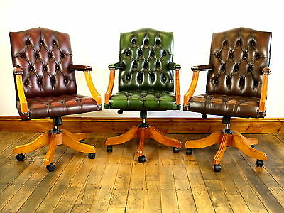 Handmade Chesterfield Leather Gainsborough / Captains Chair