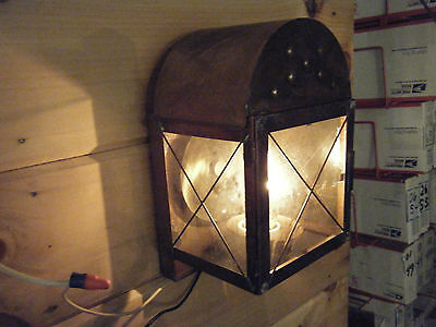 Vintage Solid Brass Light Fixture Sconce Wall Porch 70s Antique Patina Domed
